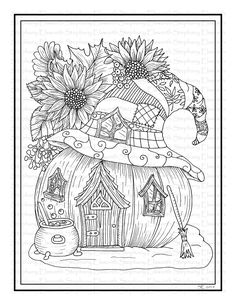 Fall Pumpkin Fairy House Printable Coloring Page - Color With Steph Space Coloring Pages, House Colouring Pages, Abstract Coloring Pages, Summer Coloring Pages, Quote Coloring Pages, Printable Adult Coloring Pages, Coloring Pages For Girls, Flower Coloring Pages, Free Coloring Pages