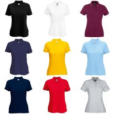 de7618aed Fruit Of The Loom Womens / Ladies Lady-Fit 65/35 Short Sleeve Plain Polo  Shirt