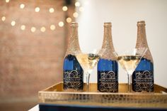 Gold glitter covered champagne bottles, inspiration for Mobella Events, www.mobellaevents.com, Event Planner Orlando