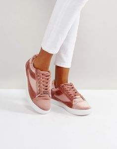 Head Over Heels by Dune Blush Velvet Sneakers - Pink