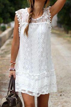 Chicnowa In Paradise Lace White Mini Dress