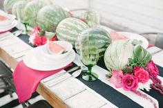 Watermelon Inspiration Wedding Reception Tables, Wedding Table Settings, Wedding Events, Weddings, Watermelon Party Decorations, Diy Centerpieces, Table Decorations, Watermelon Wedding, National Watermelon Day