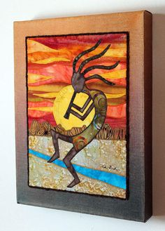 Kokopelli Native American Southwest art Art quilt --- I see drawing a picture, use yarn or hot glue to outline then fill in with crayon n glue mixture Southwestern Quilts, Kunst Der Aborigines, Landscape Art Quilts, Native American Design, Aboriginal Art, Native Art, Fabric Art, Indian Art, African Art