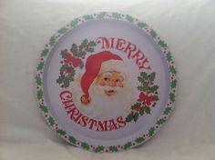 "Christmas serving metal trays winter 12"" lot 4 different scenes Santa horse"