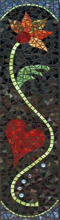 flower mosaic with black