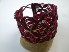 macrame bracelet in red