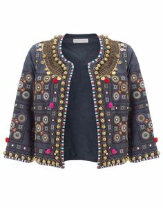 Embellished with an array of Indian-inspired textures our Glasto pom pom jacket has been cut from pure cotton and is designed to wear open. Fully lined, with ¾… Outfit Essentials, Kurta Designs Women, Blouse Designs, Dress Designs, Pom Pom Jackets, Indian Jackets, Free Clothes, Clothes For Women, Boho Fashion