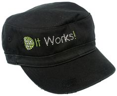 Women's It Works! Black Distressed Military Cap Bling