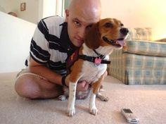 Hero Dogs: Kevin Weaver and his beagle, Belle, who called 9-1-1 when Weaver collapsed following a seizure.