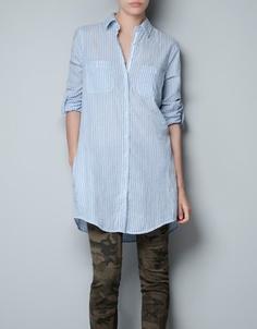 Striped long shirt - ZARA