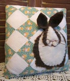 Sweet Applique Bunny Rabbit Pillow ~ Handmade from Vintage Patchwork Quilt