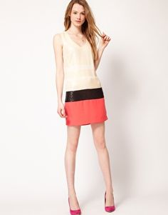 Enlarge Warehouse Shift Dress With Sequin Stripe
