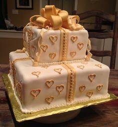 Anniversary cake. White chocolate fondant with sugar cookie cake.