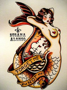 Mermaid pin up tattoo,,,i would like it more without color and i think i found my memorial tat for my grandpa finally!!