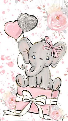 Disney Wallpaper, Iphone Wallpaper, Animal Wallpaper, Pink Wallpaper, Baby Elephant Drawing, Elephant Drawings, Baby Animal Drawings, Elephant Nursery Art, Elephant Baby