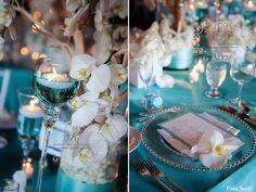 Tiffany Blue Wedding | Tiffany-blue-and-white-tabletop-manzanita-orchids-beach-wedding