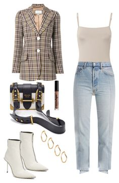 """""""Untitled #166"""" by carolina11297 ❤ liked on Polyvore featuring Ancient Greek Sandals, Vetements, Gucci, Prada, ASOS, NYX and Alexander Wang"""