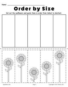 FREE Printable Sunflower Ordering Worksheets: Shortest to Tallest & Tallest to Shortest! Free Preschool, Preschool Printables, Preschool Kindergarten, Preschool Learning, Kindergarten Worksheets, Classroom Activities, Math Classroom, Teaching, Maths