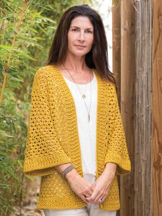 Draping lace bordered with airy rib detail creates your new go-to cardigan. Using 2 easy stitch patterns, you will be wearing this loose-fitting cardi in no time! Design is made using 8 (9, 10, 11, 12, 13, 14, 15) hanks of Plymouth Yarn Cleo, a #3 li...