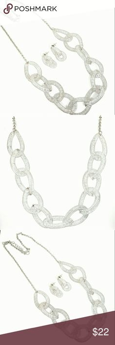Silver plated Mesh Necklace With Sparkling Crystal Sparkling Mesh Necklace with Earrings Jewelry Necklaces