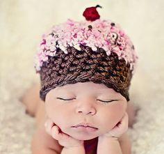 Newborn Baby Girl Photo Prop Cupcake Hat by MitziKnitz on Etsy. $22.00, via Etsy.