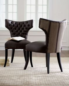 """Shop Old Hickory Tannery """"Roxbury Stripe"""" Leather & Fabric Dining Chair at Horchow, where you'll find new lower shipping on hundreds of home furnishings and gifts. Fabric Dining Chairs, Dining Room Chairs, Dining Room Furniture, California Apartment, Old Hickory Tannery, Leather Fabric, Home And Living, Home Furnishings, Living Spaces"""