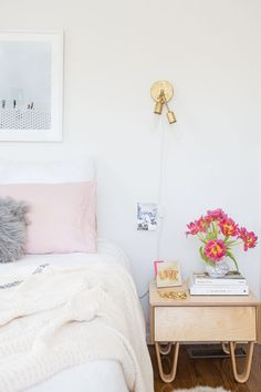 pastel pink pillows in the bedroom