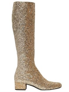 SAINT LAURENT - 40MM BABIES GLITTERED LEATHER BOOTS - LUISAVIAROMA - LUXURY SHOPPING WORLDWIDE SHIPPING - FLORENCE
