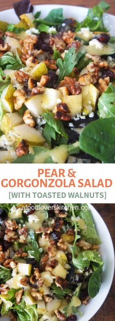 Pear and gorgonzola salad with toasted walnuts and arugula makes the perfect sal. Pear and gorgonzola salad with toasted walnuts and arugula makes the perfect salad for entertaining Best Salad Recipes, Vegetarian Recipes, Cooking Recipes, Healthy Recipes, Pear Recipes, Lettuce Salad Recipes, Italian Salad Recipes, Delicious Salad Recipes, Arugula Salad Recipes
