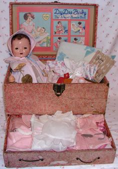 "1937 -- Effanbee 13"" Dy-Dee Baby DY-DEE-ETTE - 1st MOLD-- Trunk / Layette/Hang Tag - All Original; includes rare edition of Dy-Dee Nursing Bottle & Diary; blows bubbles!; includes pamphlet ""What Every Young Mother Should Know"" by Aunt Patsy!!"