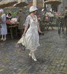 "Højbro Plads, Copenhagen (1921) (detail) by Paul Gustave Fischer (Danish, b. 22 July 1860; Copenhagen – d. 1 May 1934; Gentofte) Oil on canvas, 57.5 × 74.2 cm (22.6 × 29.2 in.) Private collection. {Højbro Plads = ""High Bridge Square""} http://www.artnet.com/artists/paul-fischer/h%C3%B8jbro-plads-copenhagen-WdXJkcRjILakIkCG2aQE_w2 http://www.the-athenaeum.org/art/full.php?ID=109458# https://en.wikipedia.org/wiki/Paul_Gustav_Fischer"