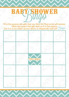 Instant Download Boy Baby Shower Bingo Card  Chevron by Sassygfx, $10.00