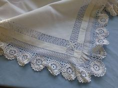 Linen tea tablecloth with elaborate drawn thread work and crochet lace trim.....this is so pretty!!!