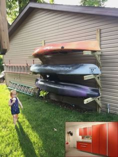 Homemade PVC Kayak Rack Can Store 4 Kayaks Paddles . After About 2 Months Of Having The Kayaks Laying Around . Camping En Kayak, Canoe And Kayak, Kayak Fishing, Camping Places, Campsite, Fishing Boats, Canoe Storage, Shed Storage, Outdoor Storage