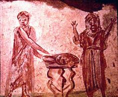Painting in the Early-Christian catacomb of San Callisto (Saint Calixte Catacomb), 3rd century.
