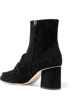 Gucci - Fringed Suede Ankle Boots - Black - IT