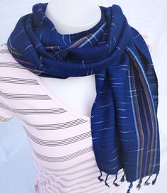 Edler Baumwollschal,handgefertigt aus 100% Bio-Baumwolle Indigo, Unisex, Winter, Fashion, Handmade, Handarbeit, Blue, Cotton, Winter Time