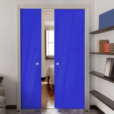 Eclisse 10mm Gloss Blue Solid Colour Glass Double Pocket Door - 5002.    #colourglassdoors  #doubleglassdoors  #framelessdoors Double Glass, Decor, Doors, Tall Cabinet Storage, Solid Color, Pocket Doors, Home Decor, Glass Pocket Doors, Color