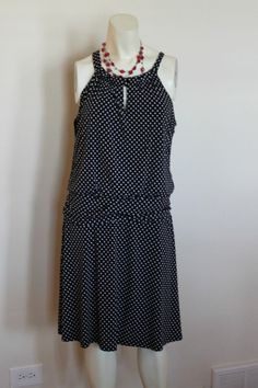 Valerie Bertinelli Black and White Polka Dot Dress  Sz 14 * SPRING & SUMMER