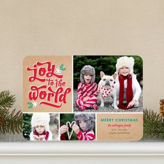Say Joy to the World with this 'Global Glee' Holiday Photo Card in Bright Red