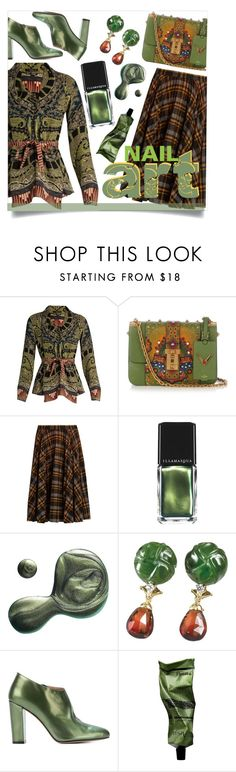 """""""Greens: If you don't eat them, wear them (at least ;)"""" by collagette ❤ liked on Polyvore featuring beauty, Etro, Valentino, Maison Margiela, Illamasqua, Jean-Michel Cazabat and Aesop"""