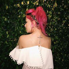 fazer E Tattoo, Pink Hair, Tatoos, Off Shoulder Blouse, Tatting, All Things, Piercings, Strapless Dress, Photoshoot