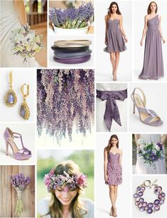 Looking for some lavender wedding inspiration? We love all of the wedding fashion and accessories in this collage!