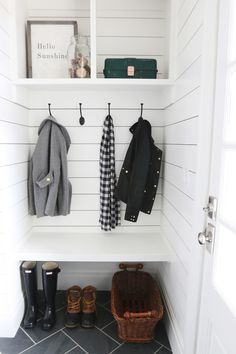 Looking for a tiny mudroom idea? This adorable nook makes the best mudroom space. Simple enough for a DIYer to complete in a couple weekends, this mudroom nook has a bench, coat hooks, and open storage above. Oh, and shiplap walls with herringbone tile Mini Closet, Hall Closet, Entry Closet, Front Closet, Closet Space, Hidden Closet, Decoration Hall, Home Interior, Interior Design