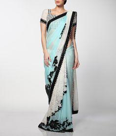 Pretty powder blue flat chiffon saree with white lace inserts   Neeta Lulla Online Store