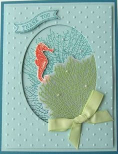 This card features Stampin' Up! products:  By the Tide Stamp Set, Itty Bitty Banners Stamp Set, Bitty Banners Framelits, and Oval Collection Framelits.  It was created by Sharon South.