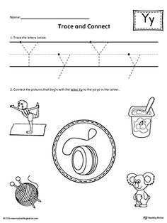 say and trace letter y beginning sound words worksheet projects to try beginning sounds. Black Bedroom Furniture Sets. Home Design Ideas