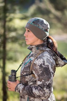 The Girls With Guns Clothing Women's Hunting Line features the brand new exclusive Alpine pattern, working to conceal your shape while hunting.  The GWG Hunting gear is designed by women, with the fit you want and the field functionality you need.  Also including innovating & advanced products, like the ponytail beanie.