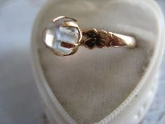 Victorian 10K Moonstone Ring by AndOnToWillow on Etsy, $235.00