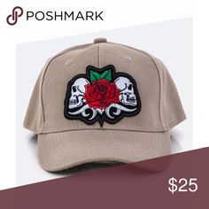 Perfect Rose and Skulls Patch Baseball Cap This hat is amazing! Neutral beige with rose & skulls patch. Adjustable Velcro back strap. 100% Acrylic   ✔️If you'd like to MAKE AN OFFER please do so through the offer button ONLY. I won't negotiate prices in the comments.  ✔️All sale items, items $15 and under, & clearance items are firm unless BUNDLED.  ❌No trades, PayPal, Holds 📷Instagram: @lovelionessie Accessories Hats